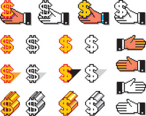 Pixelated Hands and Currency Symbols
