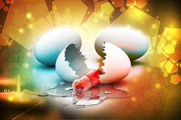 Egg and heart filled pill. conceptual design