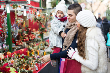 Family at floral market