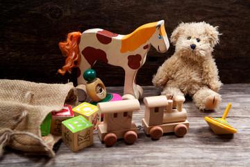 Vintage toys on wooden