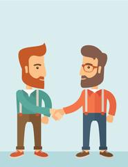 Two men handshaking.
