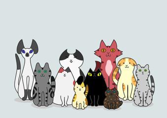 猫 グループ コピースペース