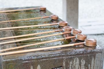 Water dippers at Kotokuin temple, Kamakura, Japan.