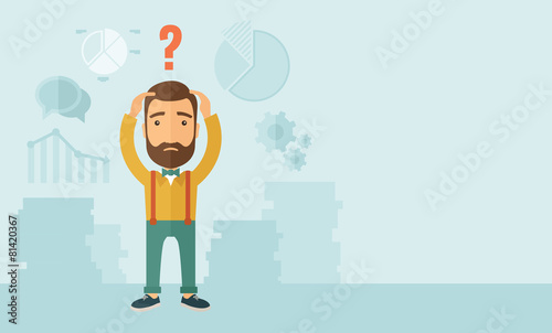 Businessman with question mark over his head. - 81420367