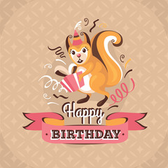 Vintage birthday greeting card with a squirrel vector illustrati