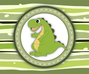 Cute smiling dinosaur label card