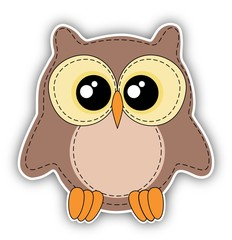 Cute owl label on white background