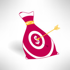 Money bag icon with aim and arrow. Money earning concept. Vector