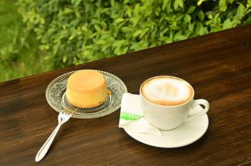 custard cake and coffee