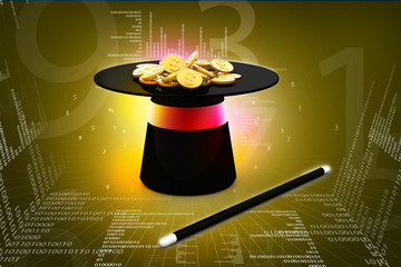 magic hat and wand with dollar coins