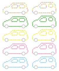 軽自動車の四角ドット絵風ピクトグラム(カラー)