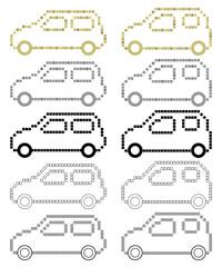 軽自動車の四角ドット絵風ピクトグラム(シック)