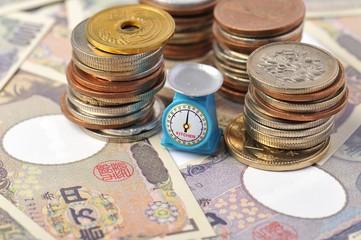 日本円の価値を量っているイメージ