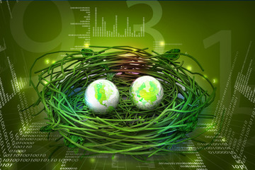Two earths in being protected in a nest. Conceptual design