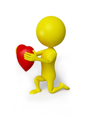 Yellow man with red heart