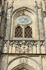 Tower clock of St. Vitus Cathedral in Prague, Czech Republic.