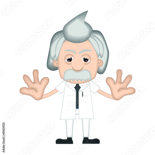 poster of Funny Albert Einstein Cartoon Illustration Comic