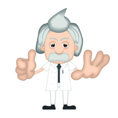 Funny Albert Einstein Cartoon Illustration Comic
