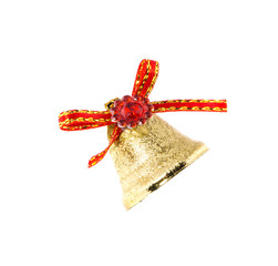 Red ribbon on Christmas kindle bell.