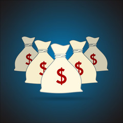 Money bags with dollar sign background. Vector illustration
