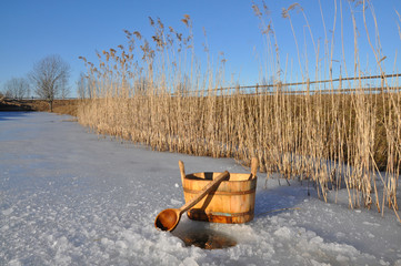 Accessories for Russian bath near ice hole
