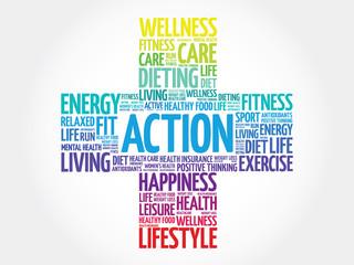 ACTION word cloud, health cross concept