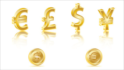 3D golden currency signs