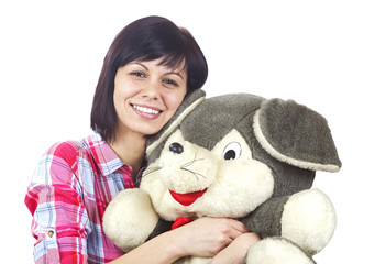 Young women with plush animal