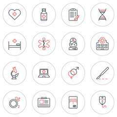 Set of Thin Line Medicine and Healthy Icons