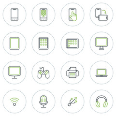 Set of Thin Line Multimedia and Devices Icons