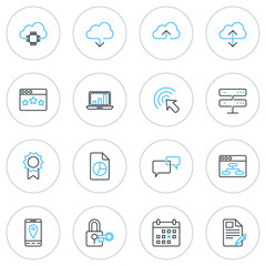 Set of Thin Line SEO and Development Icons. Vector Illustration