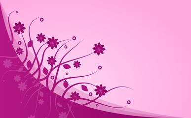 Pink abstract background with floral ornaments