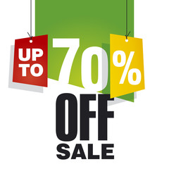 Sale up to 70 percent off green background