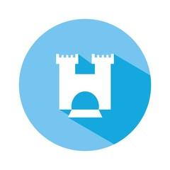 Icono castillo 2 azul botón sombra