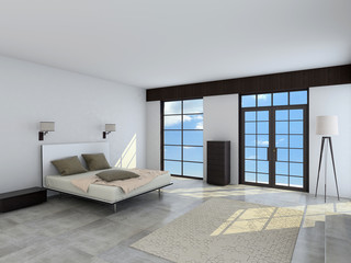 The spacious interior of the bedroom 3d rendering