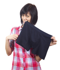 Young women with men's underwear