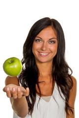 Frau mit Apfel