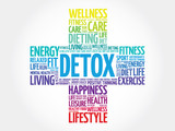 DETOX word cloud, health cross concept