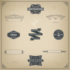 Vector design elements and calligraphic page decorations for wed