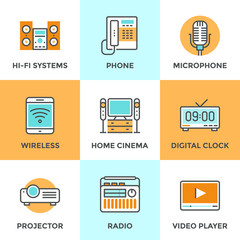Multimedia devices line icons set