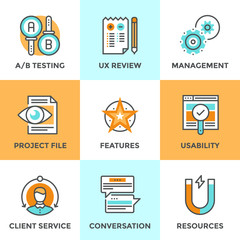 UX and usability testing line icons set