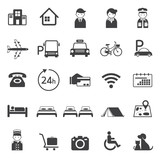 Fototapety Hotel Accommodation Amenities Services Icons Set A