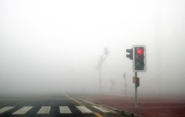 Fog in Dubai road