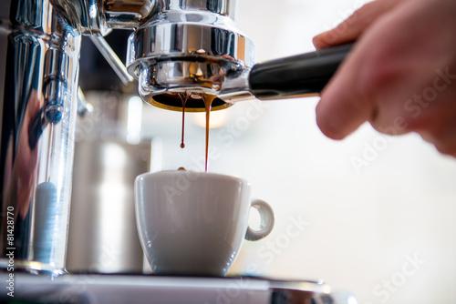 Foto op Canvas Koffie porta filter espressomachine