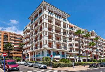 Modern residential complex in Menton, France.