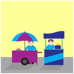 food carts with seller, food stand business competition