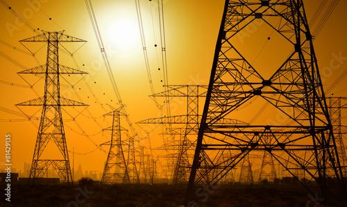 canvas print picture High voltage power lines
