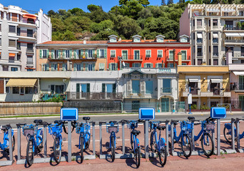 City bicycles in Nice, France.