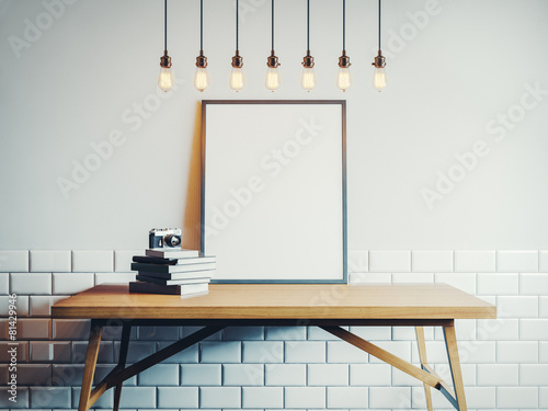 Canvas template on the wood table in white room - 81429946