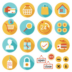 E Commerce, Online Shop, Shopping, Icons Set